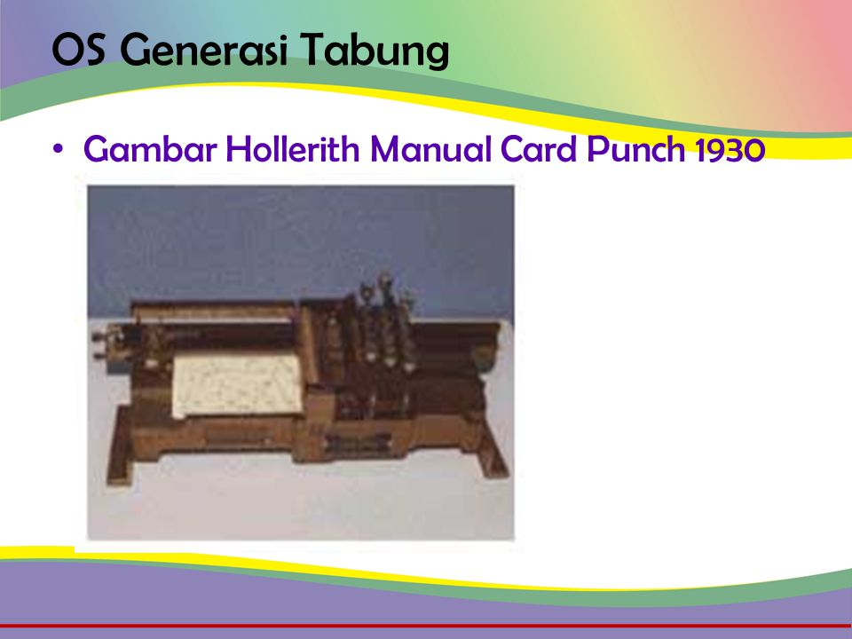 OS Generasi Tabung • Gambar Hollerith Manual Card Punch 1930