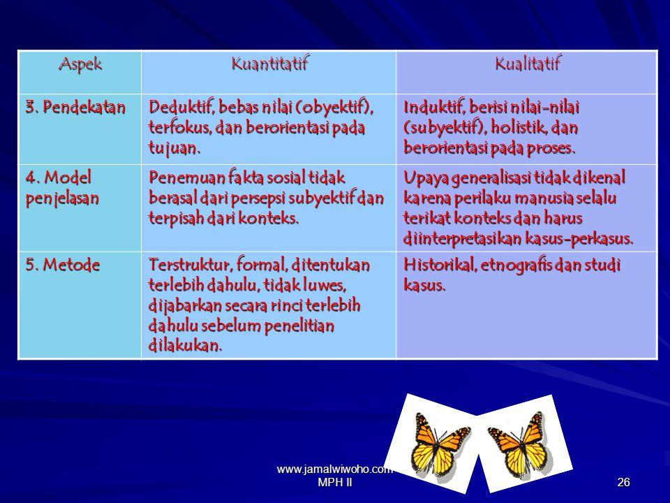 www.jamalwiwoho.com MPH II 25 Perbedaan penelitian kualitatif dan penelitian kuantitatifAspekKuantitatifKualitatif 1.