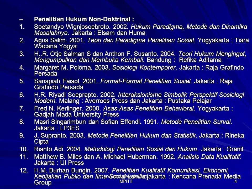 www.jamalwiwoho.com MPH II 3 Buku Penelitian Hukum Doktrinal : 1.