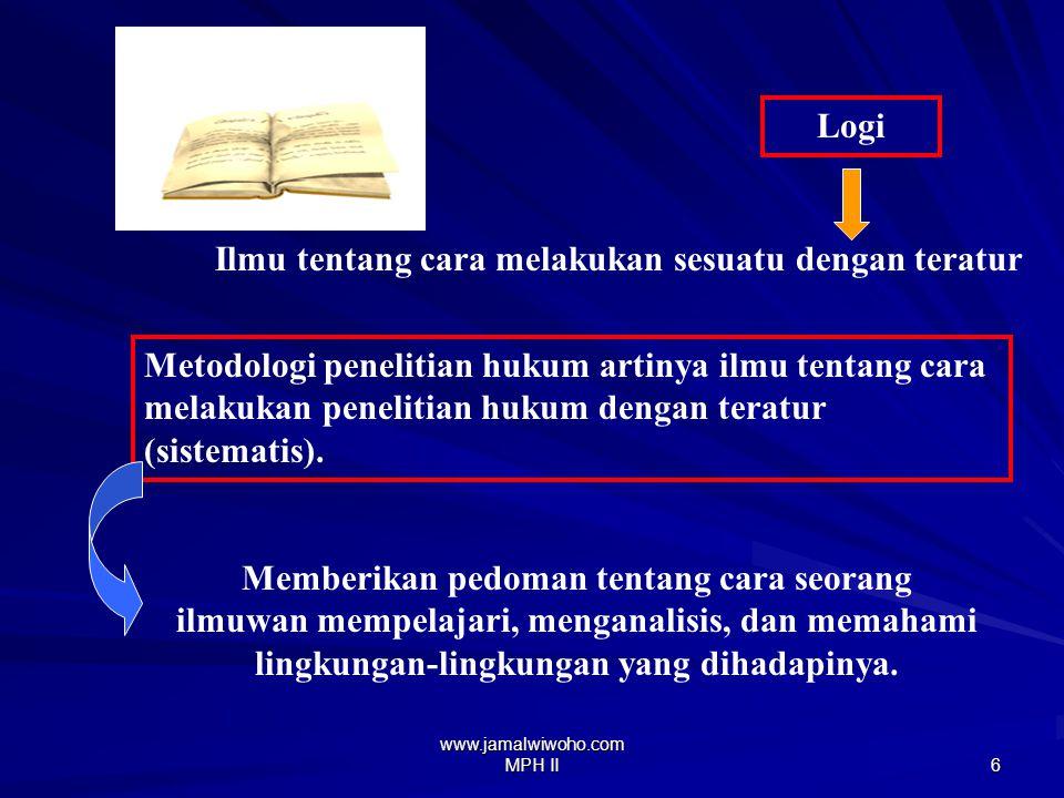 www.jamalwiwoho.com MPH II 5 Metode Cara/jalan melakukan sesuatu dengan teratur (sistematis) Logi Cara kerja untuk memahami obyek yang menjadi sasaran ilmu yang bersangkutan.
