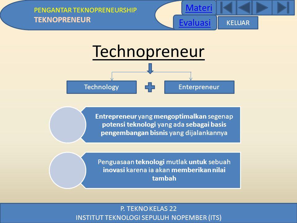 Materi PENGANTAR TEKNOPRENEURSHIP TEKNOPRENEUR P. TEKNO KELAS 22 INSTITUT TEKNOLOGI SEPULUH NOPEMBER (ITS) Technopreneur Entrepreneur yang mengoptimal