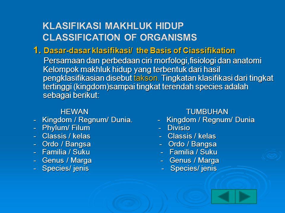 1.Dasar-dasar klasifikasi/ the Basis of Ciassifikation 1.