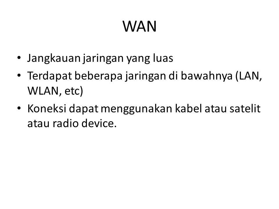 WAN • Jangkauan jaringan yang luas • Terdapat beberapa jaringan di bawahnya (LAN, WLAN, etc) • Koneksi dapat menggunakan kabel atau satelit atau radio