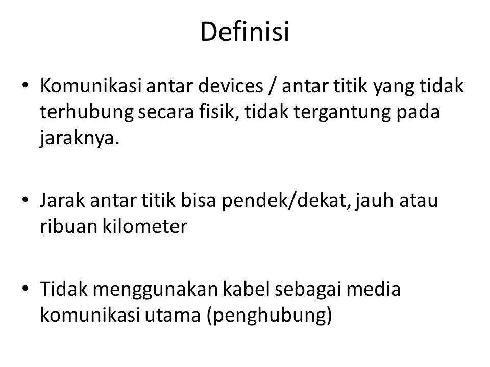 Definisi • Komunikasi antar devices / antar titik yang tidak terhubung secara fisik, tidak tergantung pada jaraknya. • Jarak antar titik bisa pendek/d