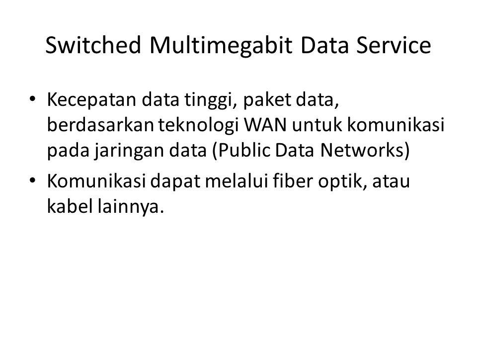 Switched Multimegabit Data Service • Kecepatan data tinggi, paket data, berdasarkan teknologi WAN untuk komunikasi pada jaringan data (Public Data Net