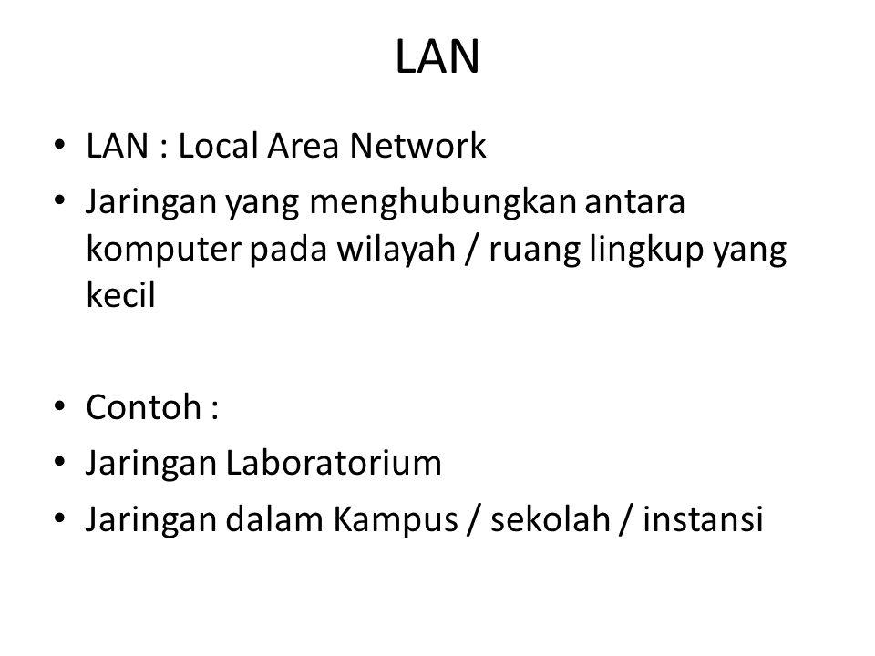 LAN • LAN : Local Area Network • Jaringan yang menghubungkan antara komputer pada wilayah / ruang lingkup yang kecil • Contoh : • Jaringan Laboratoriu