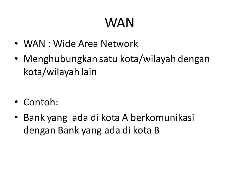 WAN • WAN : Wide Area Network • Menghubungkan satu kota/wilayah dengan kota/wilayah lain • Contoh: • Bank yang ada di kota A berkomunikasi dengan Bank