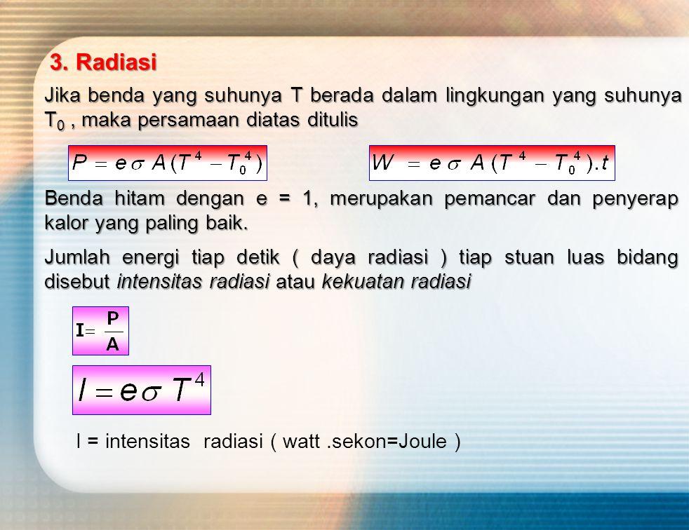 Jumlah energi tiap detik ( daya radiasi ) tiap stuan luas bidang disebut intensitas radiasi atau kekuatan radiasi I = intensitas radiasi ( watt.sekon=Joule ) Benda hitam dengan e = 1, merupakan pemancar dan penyerap kalor yang paling baik.
