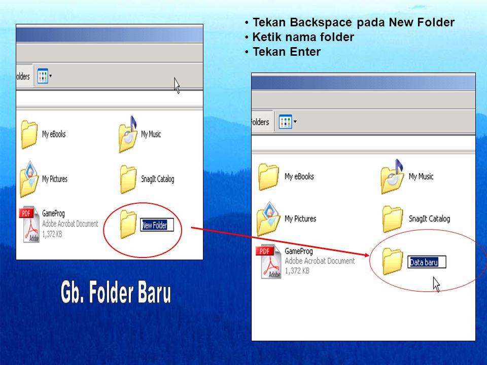 • Tekan Backspace pada New Folder • Ketik nama folder • Tekan Enter