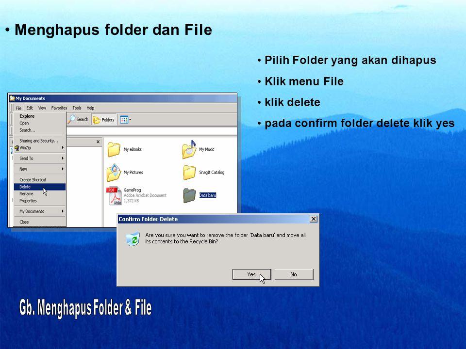 • Menghapus folder dan File • Pilih Folder yang akan dihapus • Klik menu File • klik delete • pada confirm folder delete klik yes