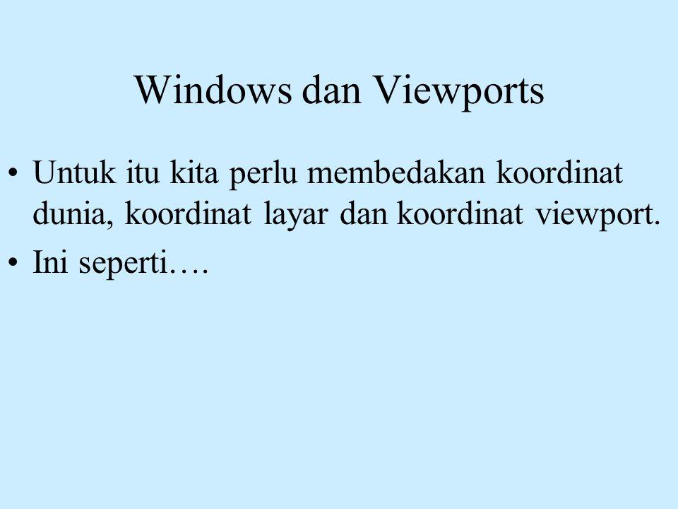 Windows dan Viewports •Untuk itu kita perlu membedakan koordinat dunia, koordinat layar dan koordinat viewport. •Ini seperti….
