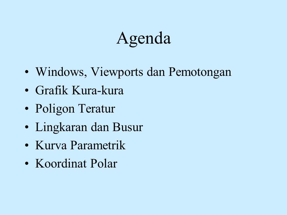 Agenda •Windows, Viewports dan Pemotongan •Grafik Kura-kura •Poligon Teratur •Lingkaran dan Busur •Kurva Parametrik •Koordinat Polar
