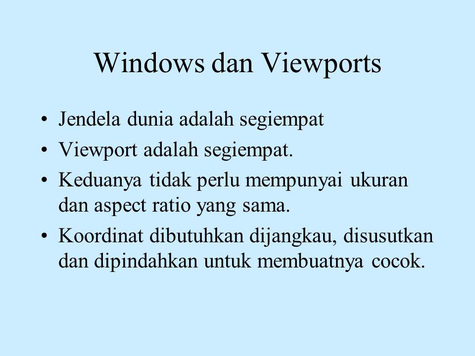Windows dan Viewports •Jendela dunia adalah segiempat •Viewport adalah segiempat. •Keduanya tidak perlu mempunyai ukuran dan aspect ratio yang sama. •