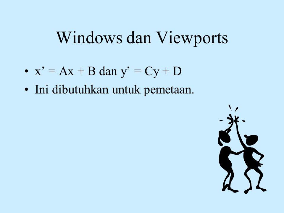 Windows dan Viewports •x' = Ax + B dan y' = Cy + D •Ini dibutuhkan untuk pemetaan.