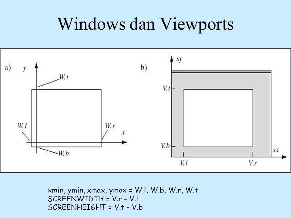 Windows dan Viewports xmin, ymin, xmax, ymax = W.l, W.b, W.r, W.t SCREENWIDTH = V.r – V.l SCREENHEIGHT = V.t – V.b