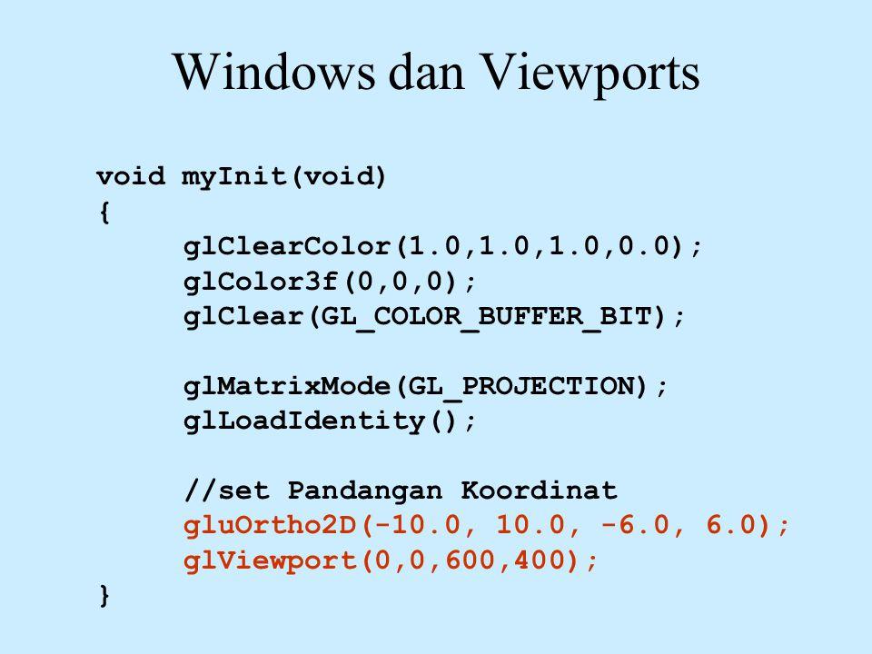 Windows dan Viewports void myInit(void) { glClearColor(1.0,1.0,1.0,0.0); glColor3f(0,0,0); glClear(GL_COLOR_BUFFER_BIT); glMatrixMode(GL_PROJECTION); glLoadIdentity(); //set Pandangan Koordinat gluOrtho2D(-10.0, 10.0, -6.0, 6.0); glViewport(0,0,600,400); }