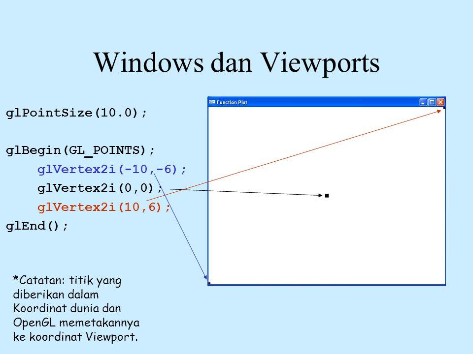 Windows dan Viewports glPointSize(10.0); glBegin(GL_POINTS); glVertex2i(-10,-6); glVertex2i(0,0); glVertex2i(10,6); glEnd(); *Catatan: titik yang dibe