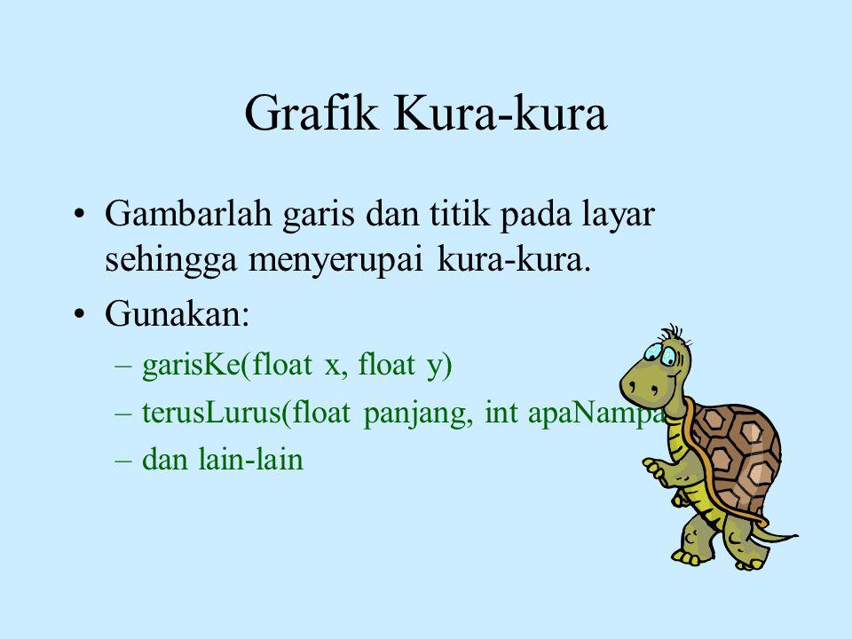 Grafik Kura-kura •Gambarlah garis dan titik pada layar sehingga menyerupai kura-kura. •Gunakan: –garisKe(float x, float y) –terusLurus(float panjang,