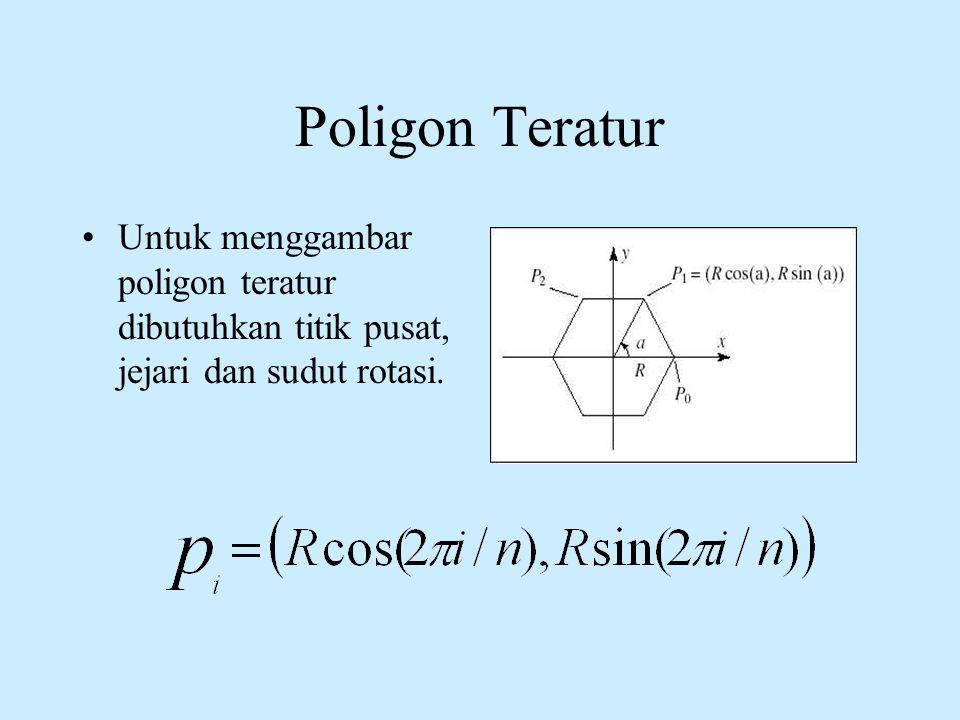 Poligon Teratur •Untuk menggambar poligon teratur dibutuhkan titik pusat, jejari dan sudut rotasi.