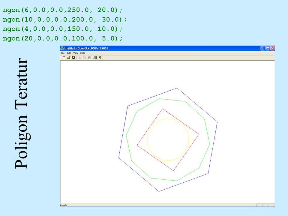 Poligon Teratur ngon(6,0.0,0.0,250.0, 20.0); ngon(10,0.0,0.0,200.0, 30.0); ngon(4,0.0,0.0,150.0, 10.0); ngon(20,0.0,0.0,100.0, 5.0);