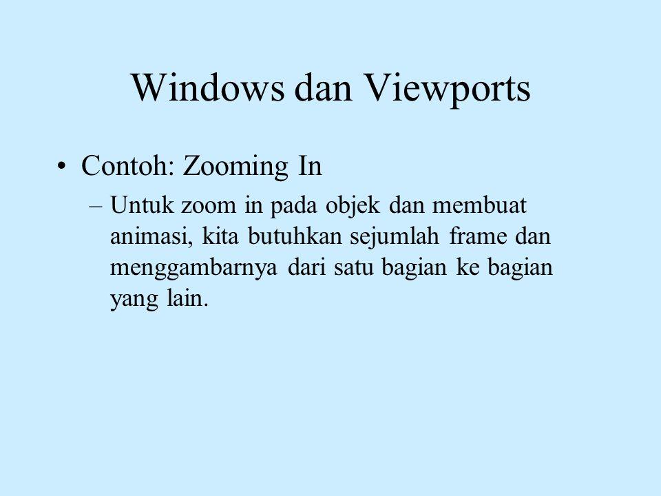 Windows dan Viewports •Contoh: Zooming In –Untuk zoom in pada objek dan membuat animasi, kita butuhkan sejumlah frame dan menggambarnya dari satu bagi