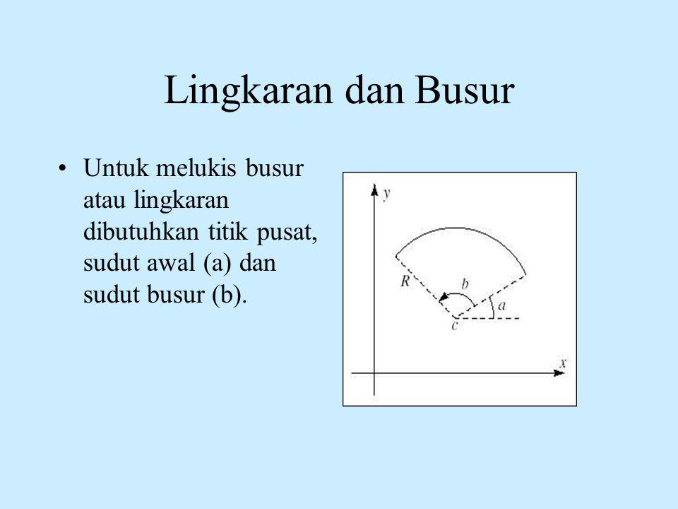 Lingkaran dan Busur •Untuk melukis busur atau lingkaran dibutuhkan titik pusat, sudut awal (a) dan sudut busur (b).