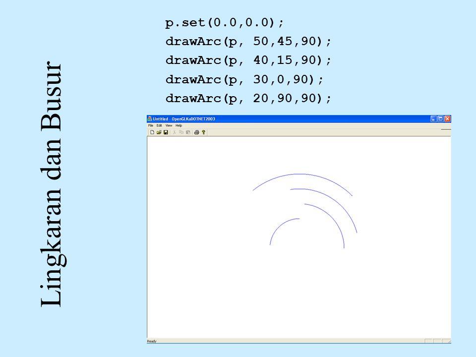 Lingkaran dan Busur p.set(0.0,0.0); drawArc(p, 50,45,90); drawArc(p, 40,15,90); drawArc(p, 30,0,90); drawArc(p, 20,90,90);