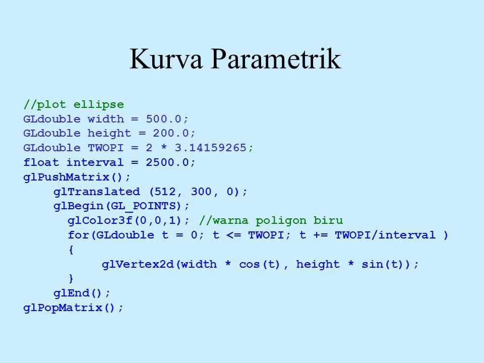 Kurva Parametrik //plot ellipse GLdouble width = 500.0; GLdouble height = 200.0; GLdouble TWOPI = 2 * 3.14159265; float interval = 2500.0; glPushMatri