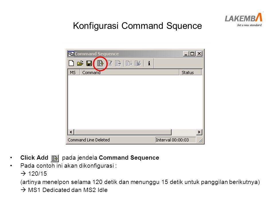 Konfigurasi Command Squence •Tampil jendela Add command •Pada bagian Command, Pilih General  Loop Start •Isi No of Repetitions sebesar mungkin (dalam contoh ini 1000) •Click Add above •Tampil Loop Start 1000 kali pada list Command Sequence