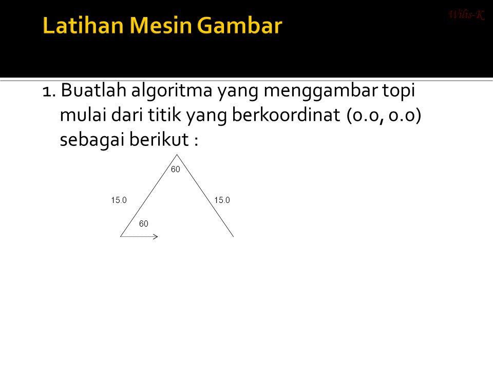1. Buatlah algoritma yang menggambar topi mulai dari titik yang berkoordinat (0.0, 0.0) sebagai berikut : 15.0 60 Wilis-K