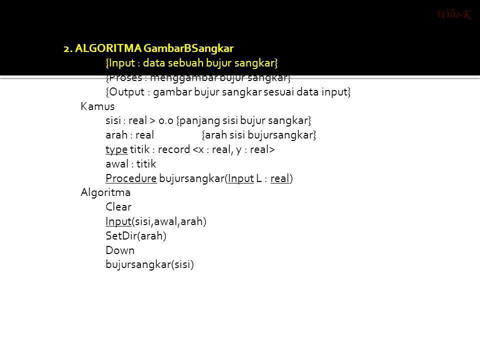2. ALGORITMA GambarBSangkar {Input : data sebuah bujur sangkar} {Proses : menggambar bujur sangkar} {Output : gambar bujur sangkar sesuai data input}