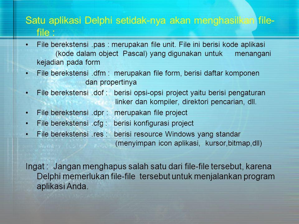 Satu aplikasi Delphi setidak-nya akan menghasilkan file- file : •File berekstensi.pas : merupakan file unit. File ini berisi kode aplikasi (kode dalam
