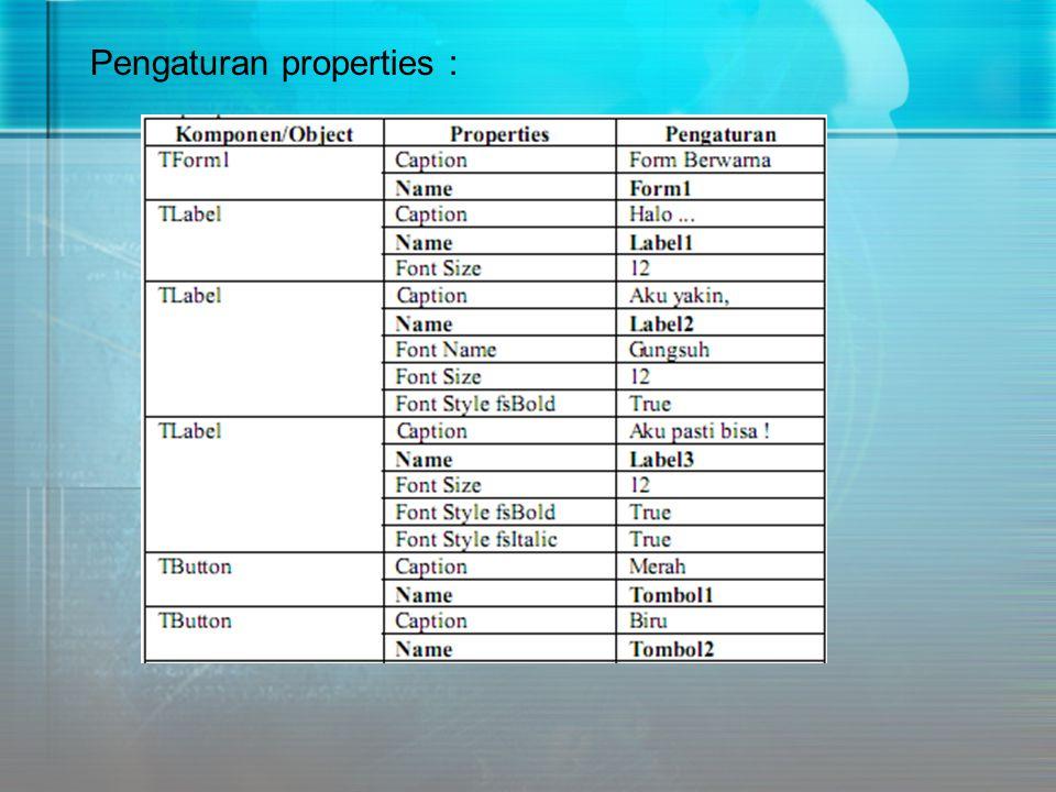 Pengaturan properties :