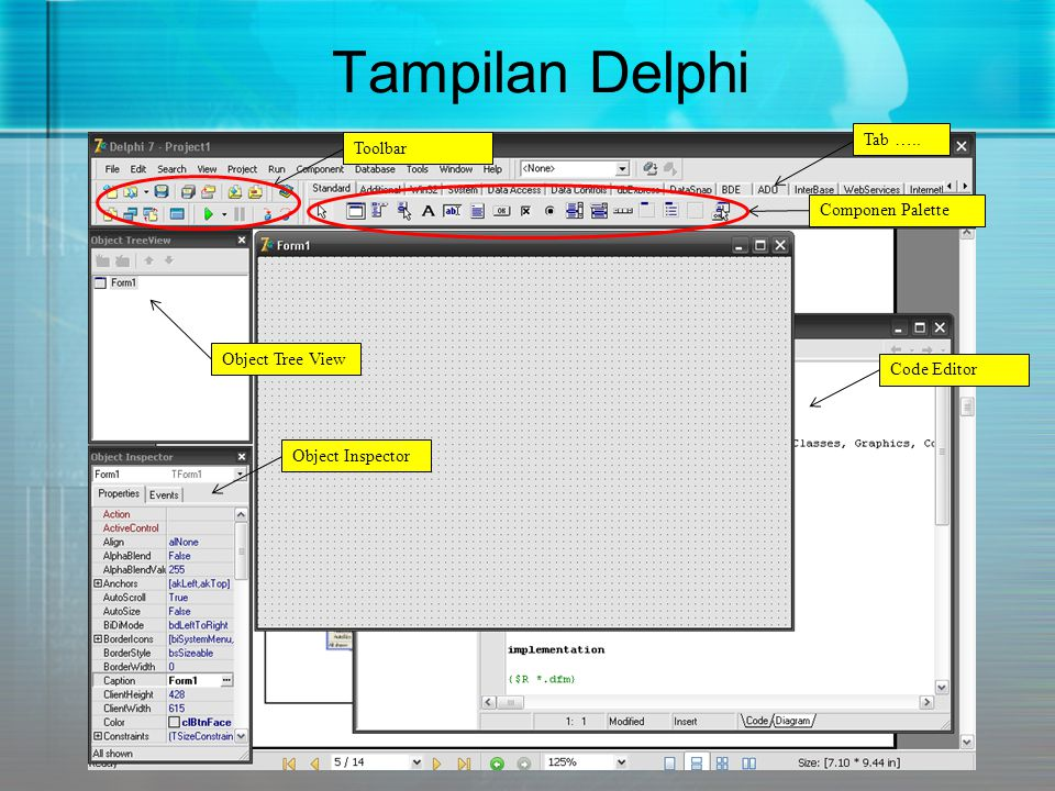 Dalam Delphi ada 3 buah file utama (*.dpr, *.pas dan *.dfm).