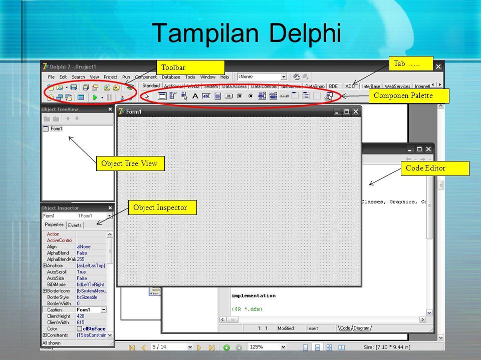 Object Tree View Merupakan sebuah diagram pohon yang menggambarkan hubungan logis menghubungkan semua komponen yang terdapat dalam suatu proyek program.