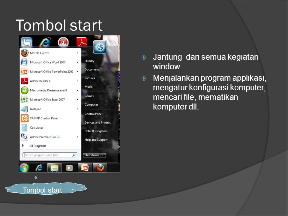 Tombol start  Jantung dari semua kegiatan window  Menjalankan program applikasi, mengatur konfigurasi komputer, mencari file, mematikan komputer dll.