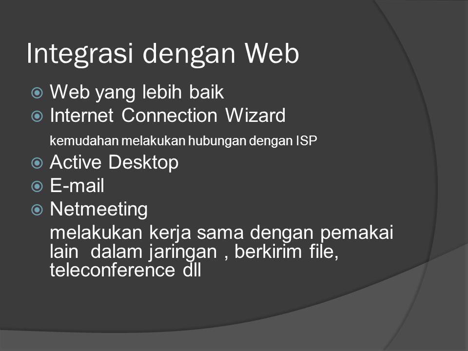 Integrasi dengan Web  Web yang lebih baik  Internet Connection Wizard kemudahan melakukan hubungan dengan ISP  Active Desktop  E-mail  Netmeeting melakukan kerja sama dengan pemakai lain dalam jaringan, berkirim file, teleconference dll