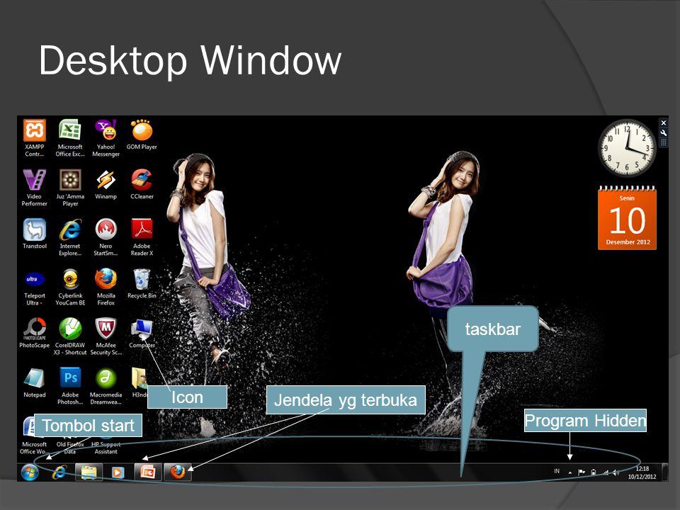 Istilah  Dekstop : Jendela, tempat menampung applikasi, dokument serta icon icon  Taskbar, daerah kendali kerja yang berisi tombol start, icon jendela dll.
