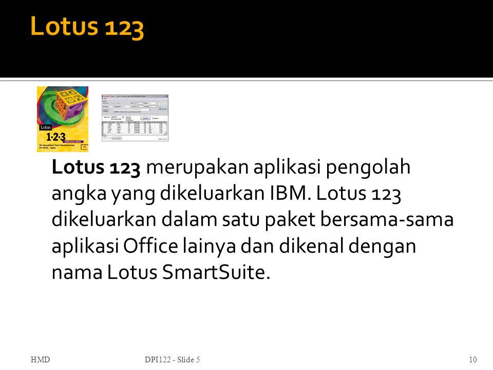 Lotus 123 merupakan aplikasi pengolah angka yang dikeluarkan IBM. Lotus 123 dikeluarkan dalam satu paket bersama-sama aplikasi Office lainya dan diken
