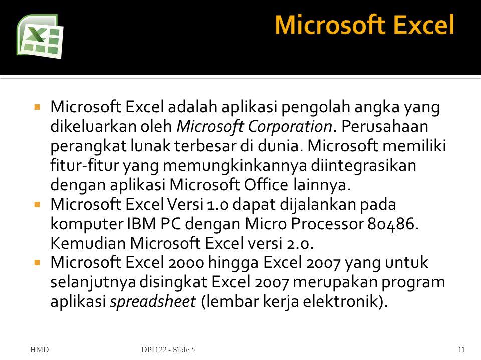  Microsoft Excel adalah aplikasi pengolah angka yang dikeluarkan oleh Microsoft Corporation. Perusahaan perangkat lunak terbesar di dunia. Microsoft