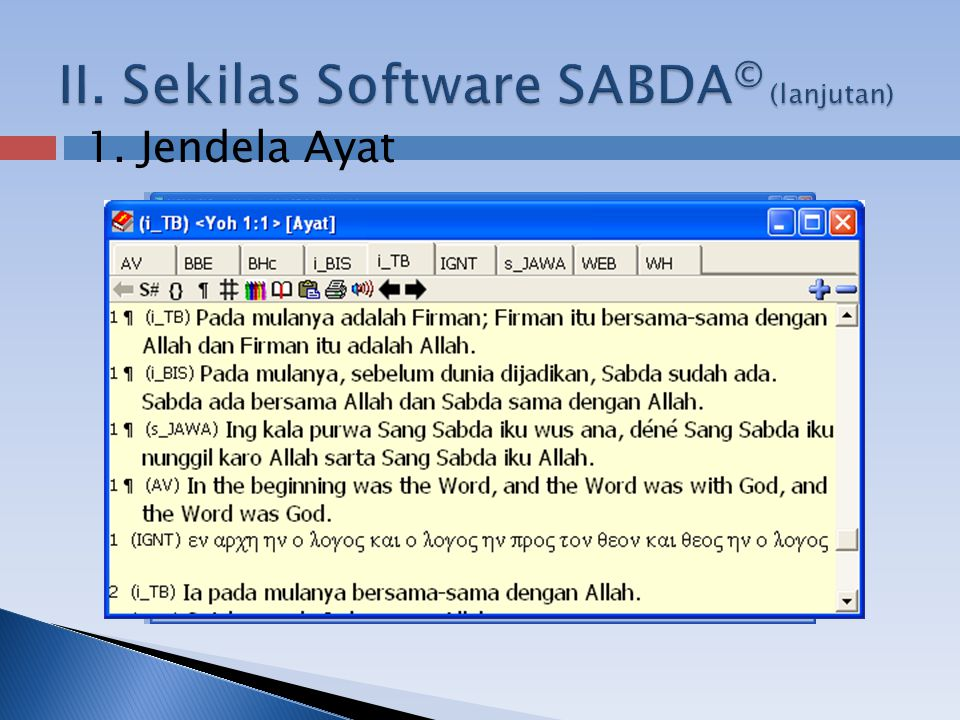  Dokumentasi  Powerpoint ini  Petunjuk instalasi  Petunjuk penggunaan Dapat diperoleh di: http://www.slideshare.net/sabda