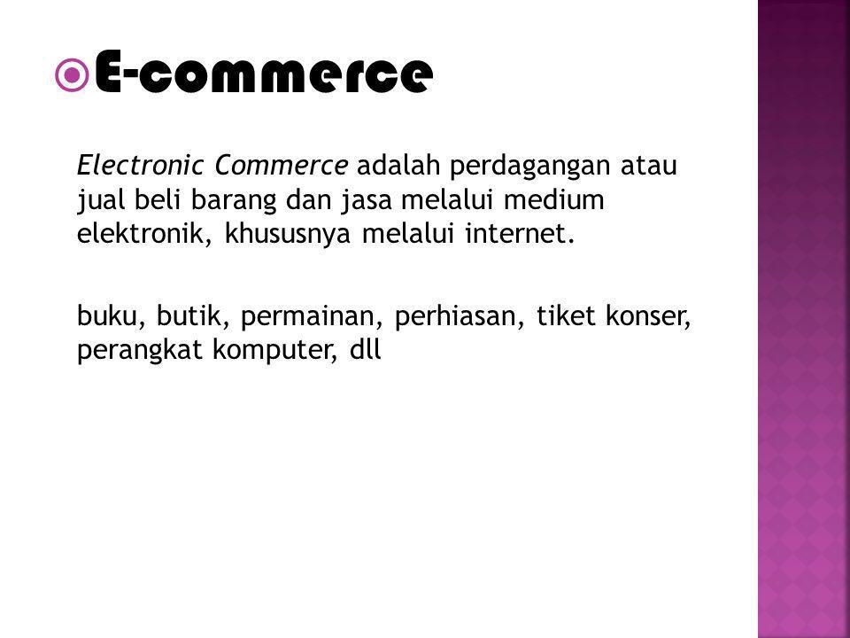 E-commerce Electronic Commerce adalah perdagangan atau jual beli barang dan jasa melalui medium elektronik, khususnya melalui internet. buku, butik,