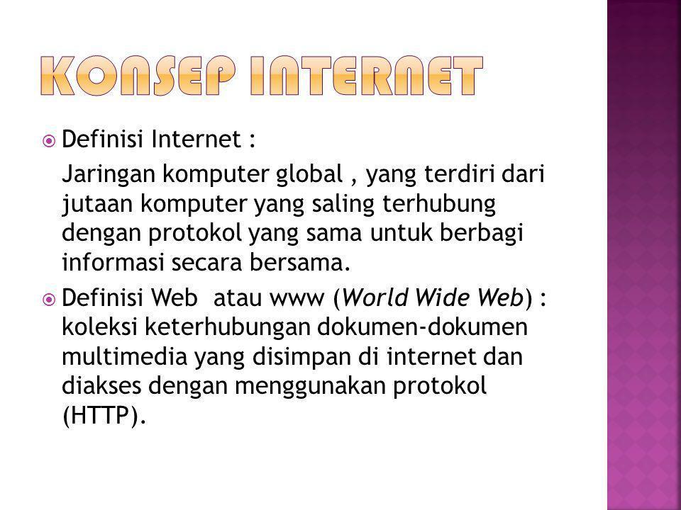  Definisi Internet : Jaringan komputer global, yang terdiri dari jutaan komputer yang saling terhubung dengan protokol yang sama untuk berbagi inform