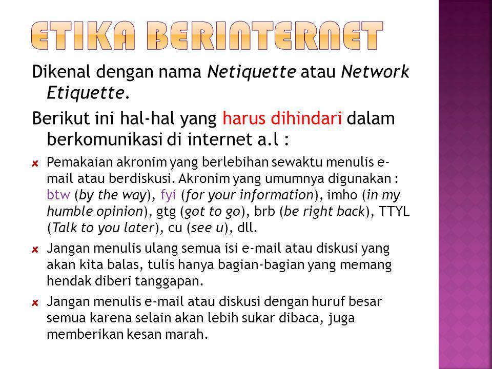 Dikenal dengan nama Netiquette atau Network Etiquette. Berikut ini hal-hal yang harus dihindari dalam berkomunikasi di internet a.l : Pemakaian akroni