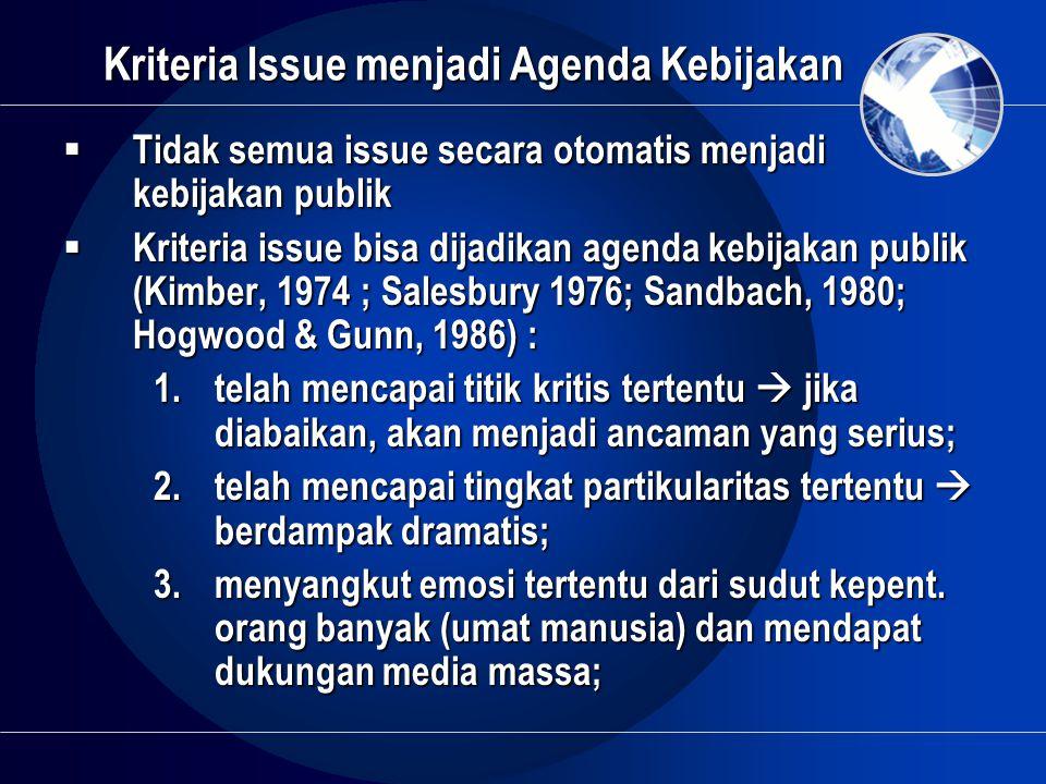 Kriteria Issue menjadi Agenda Kebijakan  Tidak semua issue secara otomatis menjadi kebijakan publik  Kriteria issue bisa dijadikan agenda kebijakan
