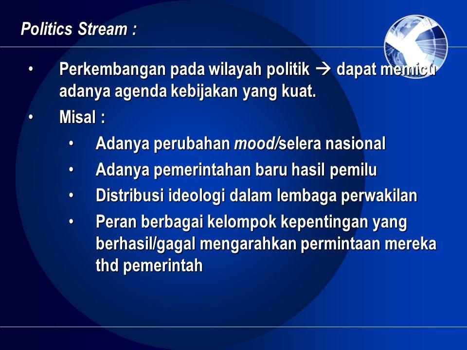 Politics Stream : • Perkembangan pada wilayah politik  dapat memicu adanya agenda kebijakan yang kuat. • Misal : • Adanya perubahan mood/ selera nasi