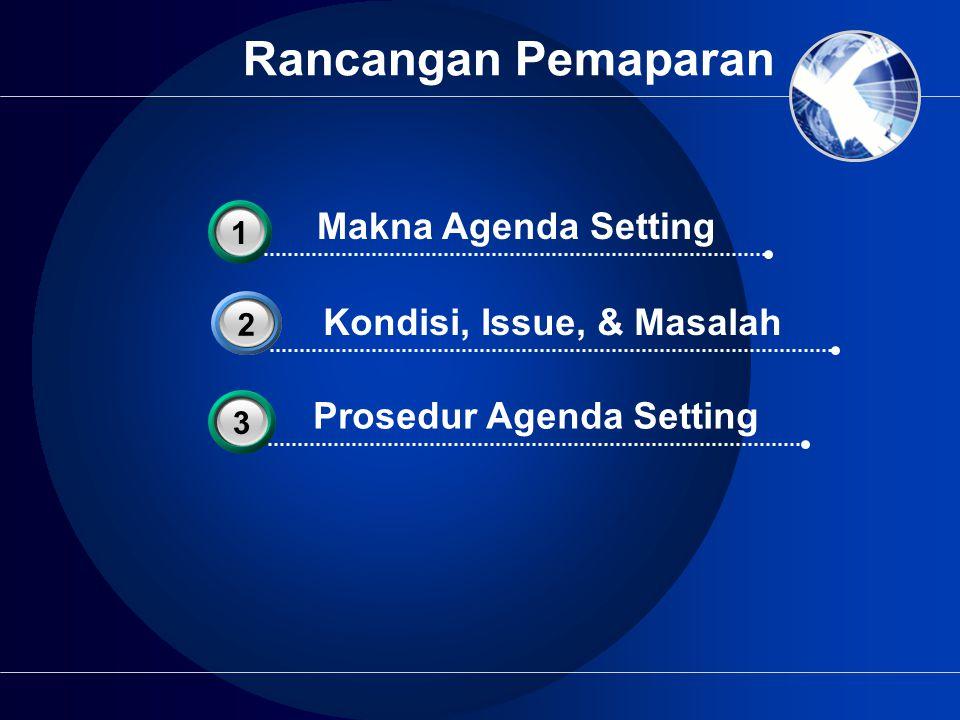 Rancangan Pemaparan Kondisi, Issue, & Masalah 2 Makna Agenda Setting 31 Prosedur Agenda Setting 33