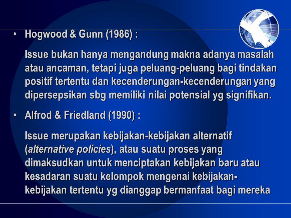 • Hogwood & Gunn (1986) : Issue bukan hanya mengandung makna adanya masalah atau ancaman, tetapi juga peluang-peluang bagi tindakan positif tertentu d