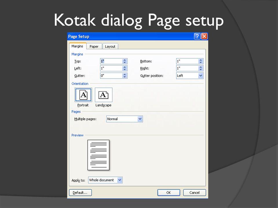 Kotak dialog Page setup