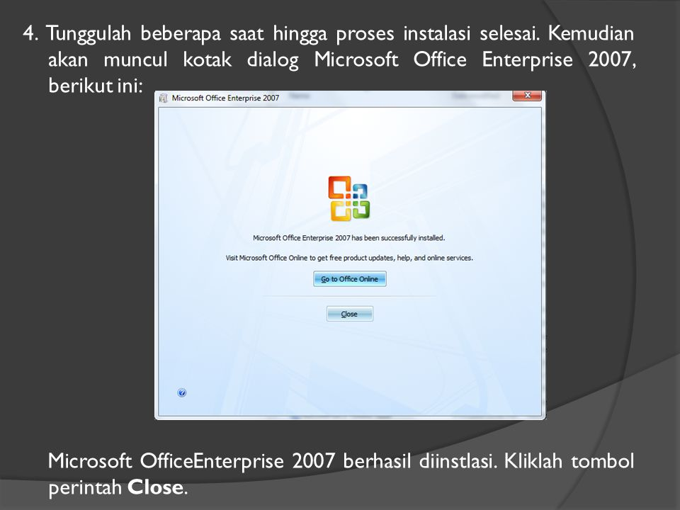 Membuka File Dokumen  Klik tombol office  Klik Open  Muncul Kotak Dialog:  Klik nama file dokumen  Klik tombol Open